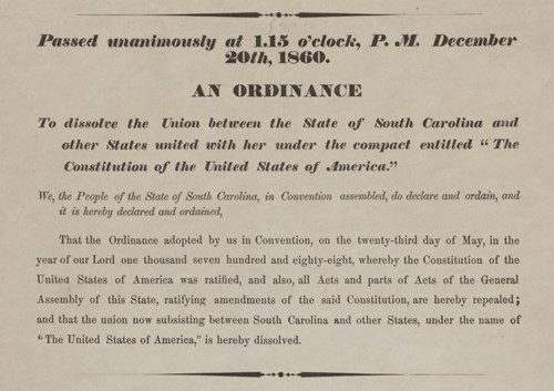 South Carolina Ordinance of Secession. Courtesy SC Digital Library